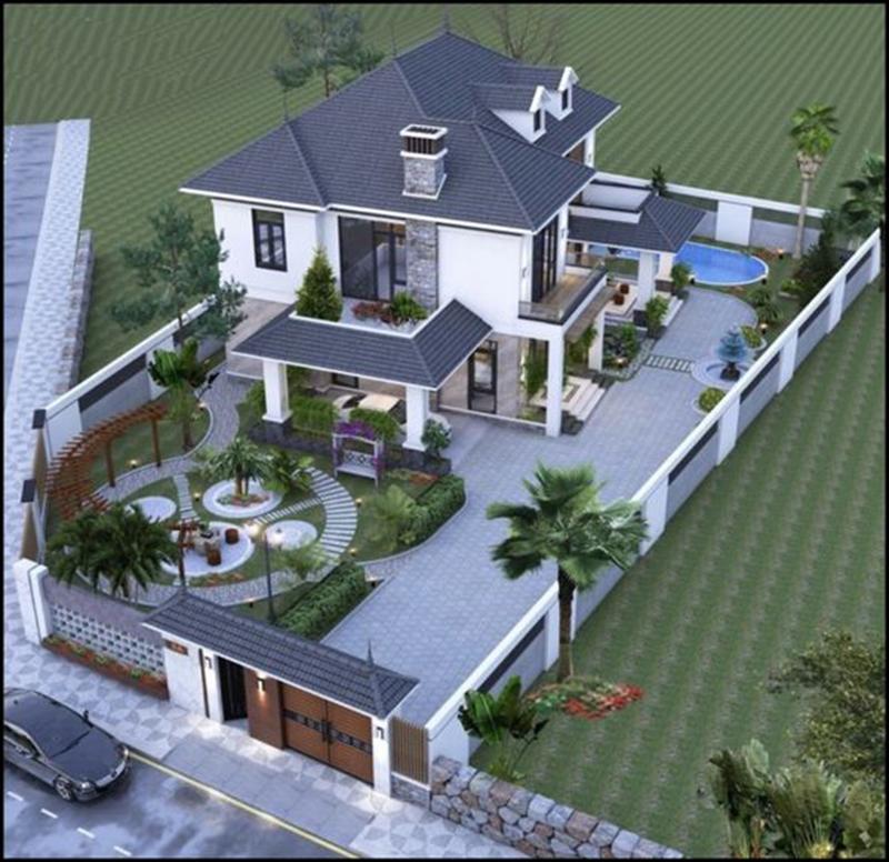 Mẫu thiết kế nhà 2 tầng đẹp mái thái.