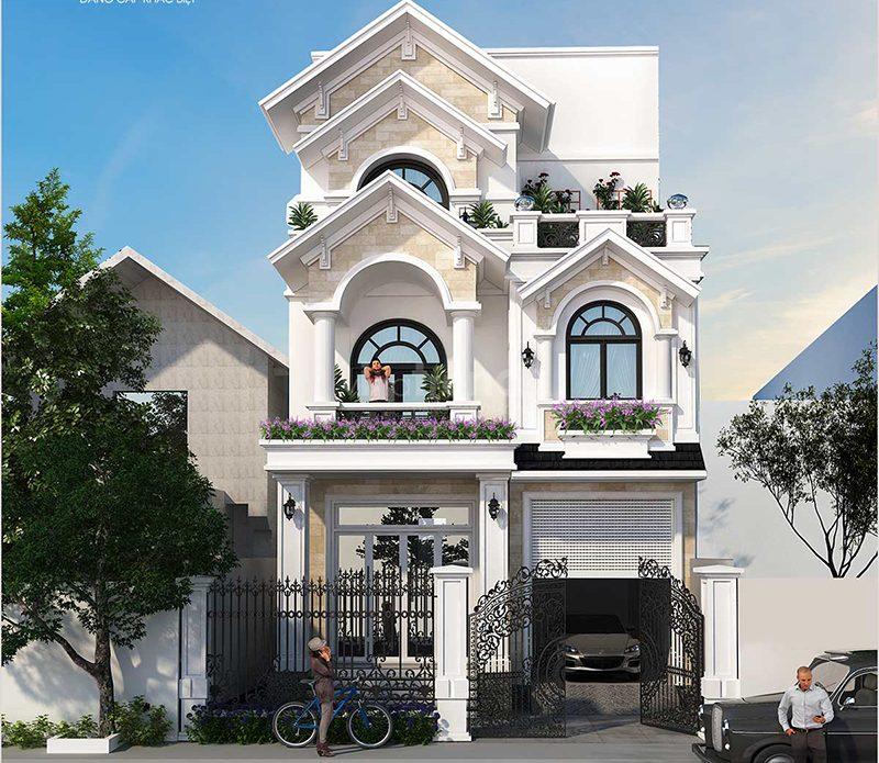 Biệt thự Pháp 3 tầng mái Thái nhẹ nhàng mặt tiền 17m
