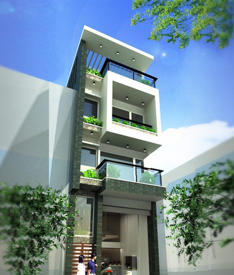 Mặt tiền nhà phố 5m 4 tầng