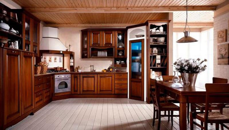 Gợi ý thiết kế phòng bếp biệt thự bằng gỗ óc chó