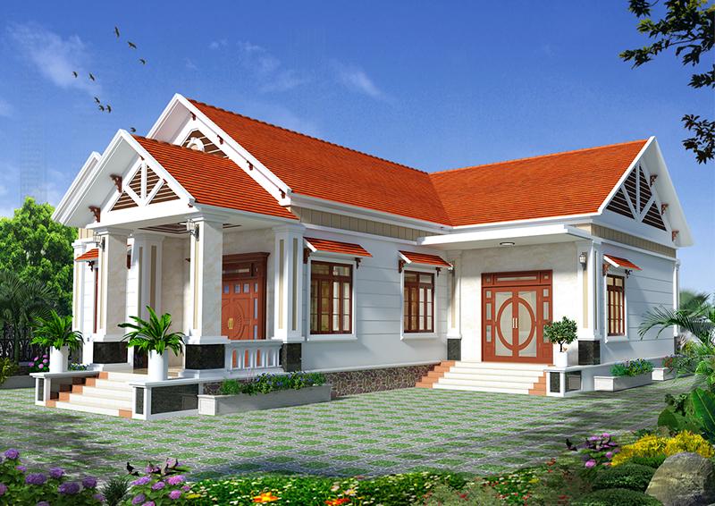 Thiết kế mẫu biệt thự hiện đại 1 tầng mái thái