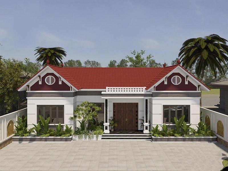 Thiết kế nhà cấp 4 mái thái hình chữ U hiện đại ở nông thôn