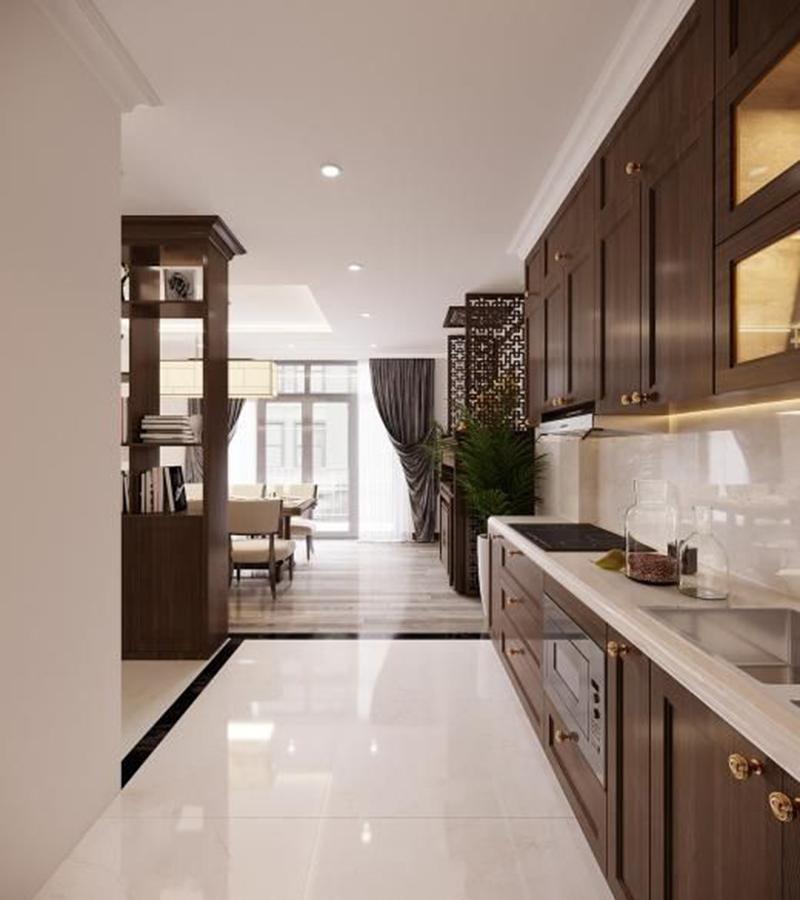 Thiết kế căn hộ chung cư 100m2 - 3 phòng ngủ hiện đại với màu nâu gỗ
