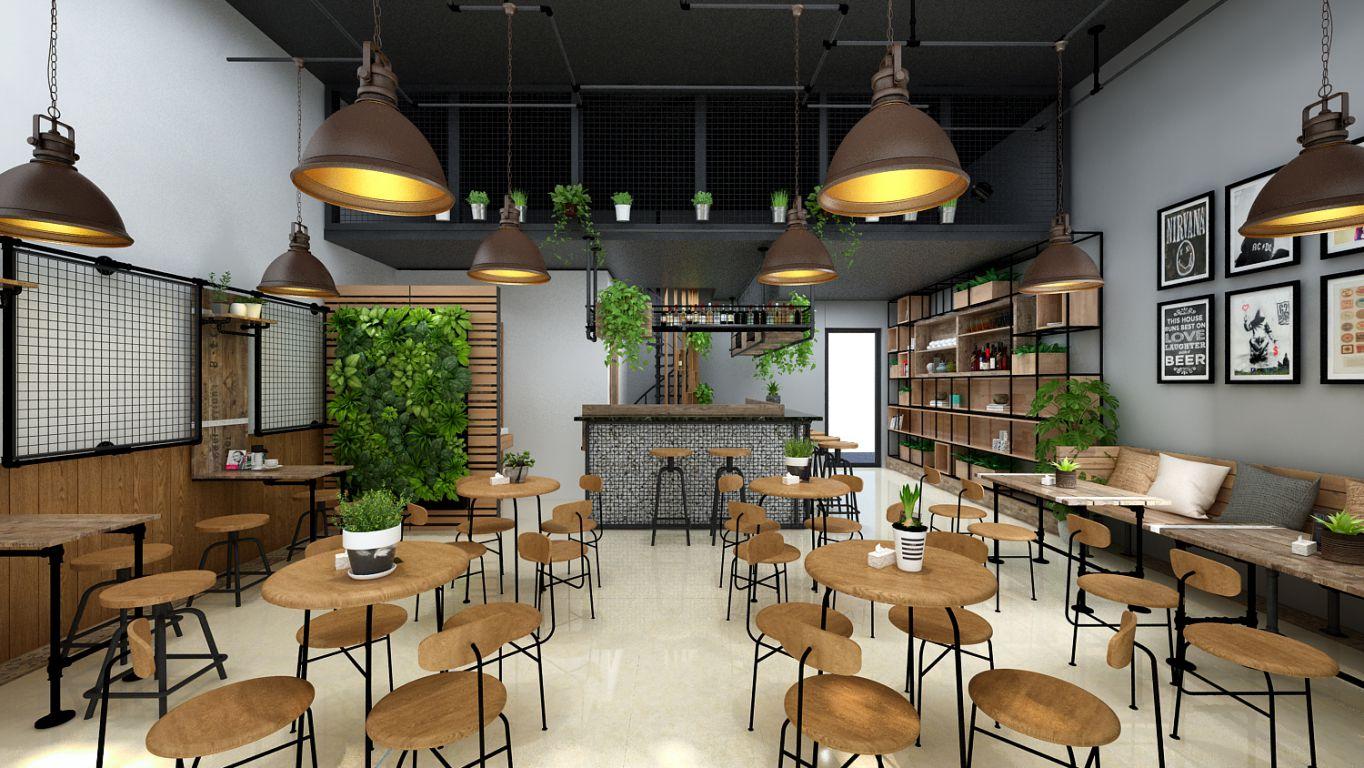 Thiết kế nội thất quán Cafe phong cách công nghiệp - Industrial