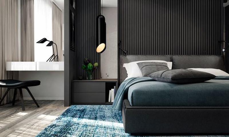Thiết kế nội thất chung cư 60m2 với phòng ngủ gam màu trầm
