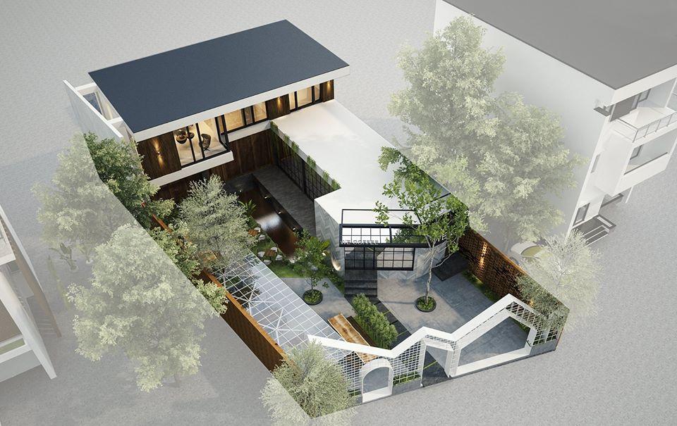 Thiết kế quán cafe sân vườn tại khu biệt thự