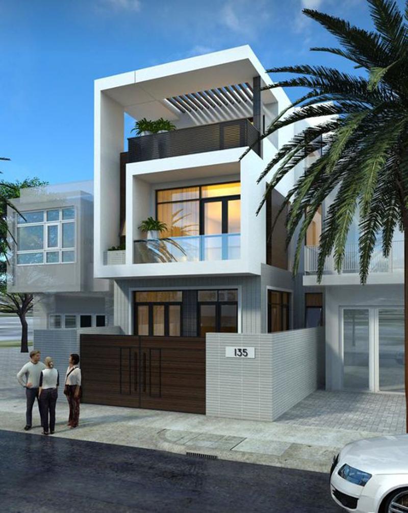 Thiết kế nhà phố theo phong cách thiết kế cổ điển 3 tầng 1 tum