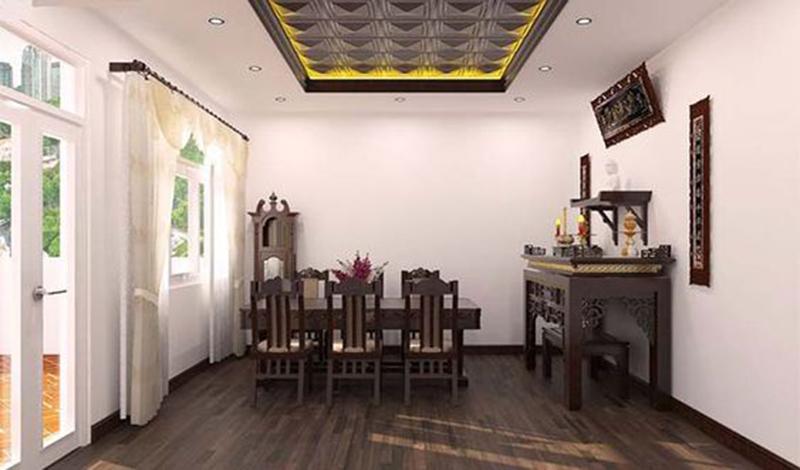 Mẫu thiết kế phòng khách nhỏ có bàn thờ tối ưu nhất