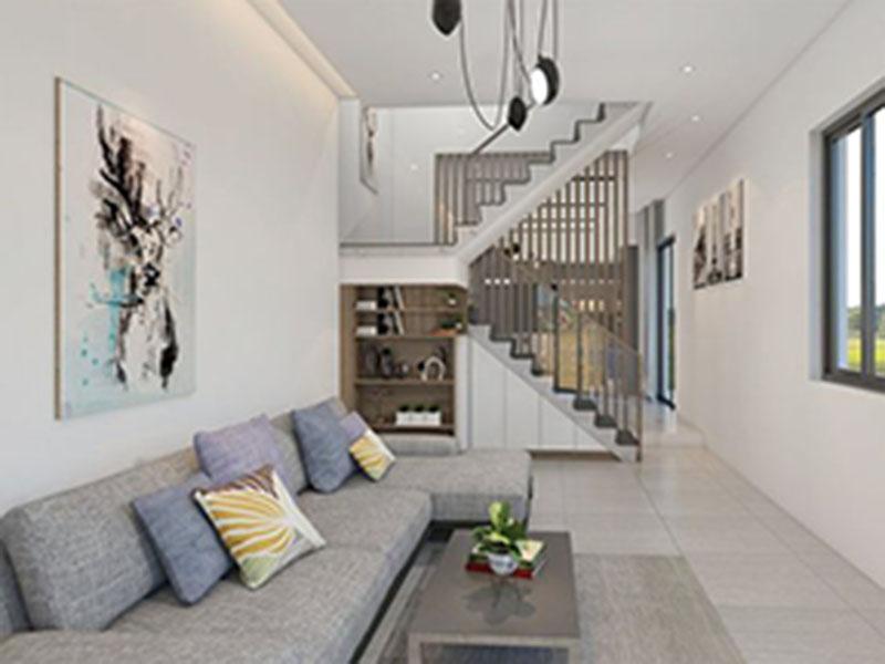 Kiểu trang trí phòng khách có cầu thang