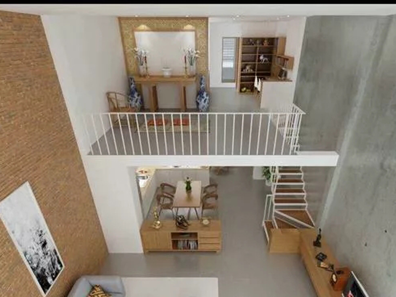 Mẫu thiết kế phòng khách nhà ống 2 tầng có gác lửng