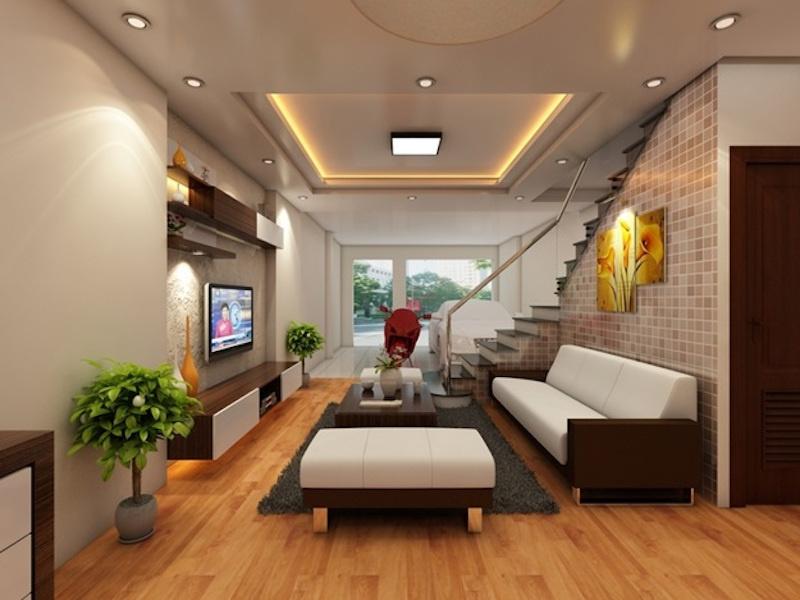 Thiết kế phòng khách nhà ống với gam màu trung tính