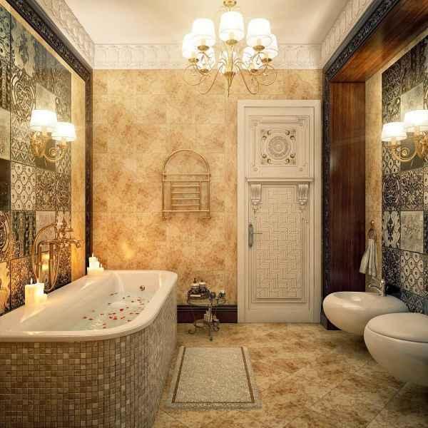 Mẫu thiết kế nội thất phòng tắm phong cách cổ điển