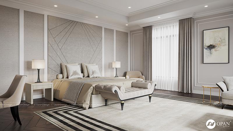 Thiết kế nội thất phòng ngủ biệt thự phong cách tân cổ điển sang trọng và ấm cúng