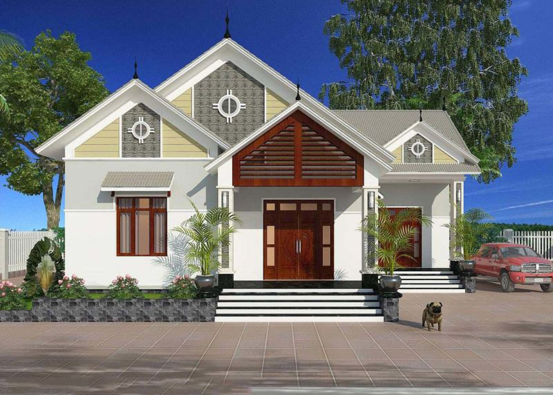 Bản vẽ mẫu nhà vườn 1 tầng 4 phòng ngủ với kinh phí khoảng 1,2 tỷ đồng