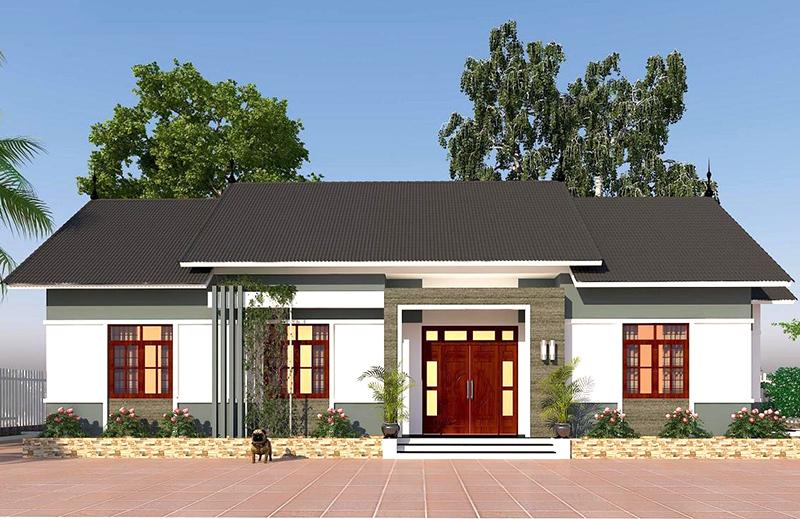 Bản vẽ mẫu nhà vườn 1 tầng 4 phòng ngủ với kinh phí đầu tư khoảng 1,5 tỷ đồng