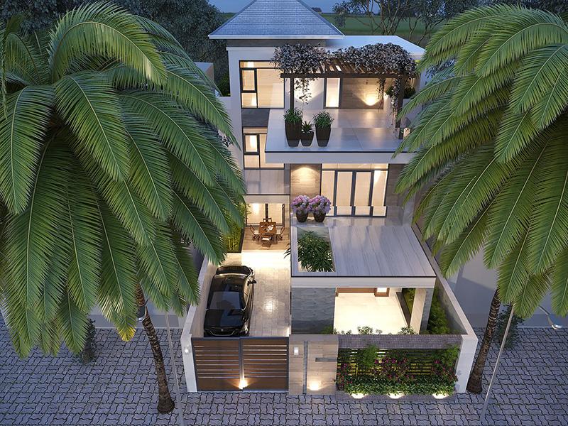 Thiết kế sân thượng đẹp cho biệt thự