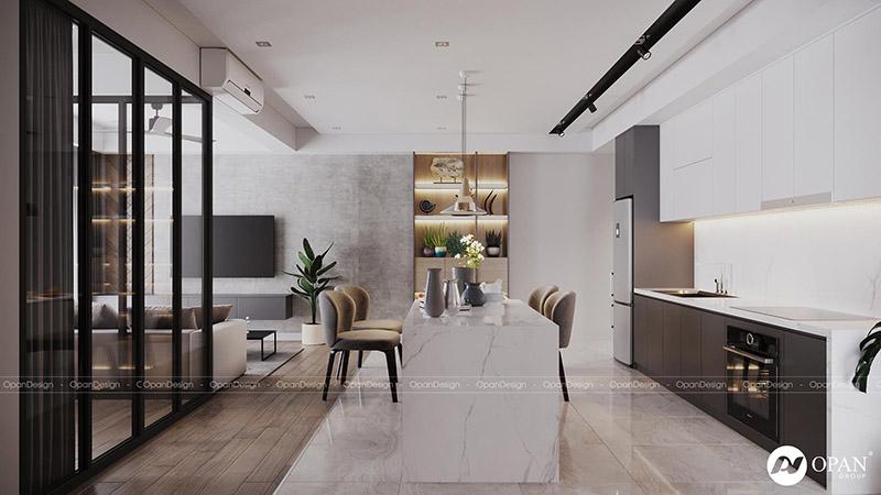 Thiết kế nội thất căn hộ hạng mục phòng bếp