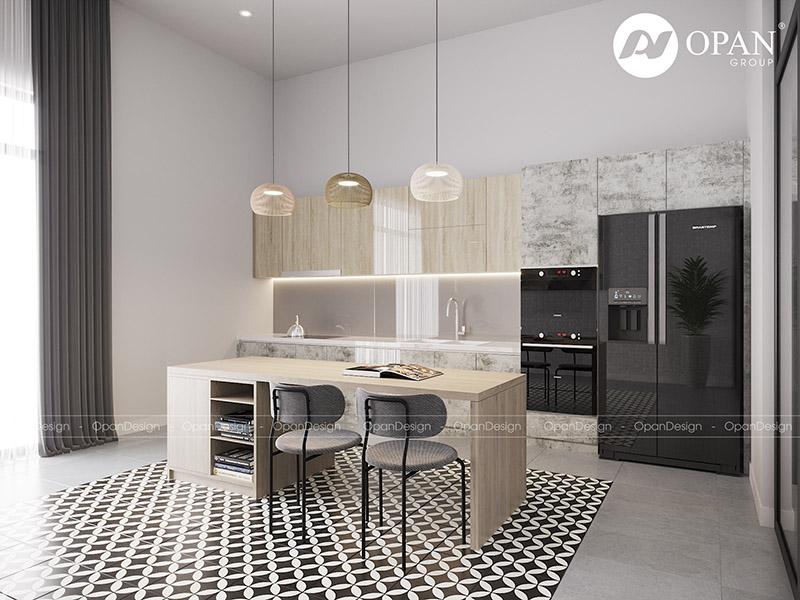 Thiết kế nội thất nhà phố anh Minh hạng mục phòng bếp
