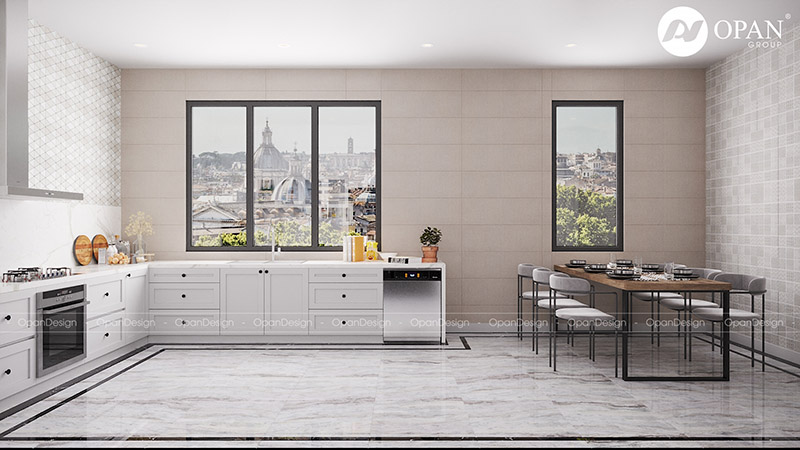 Thiết kế nội thất nhà phố chú Dương hạng mục phòng bếp