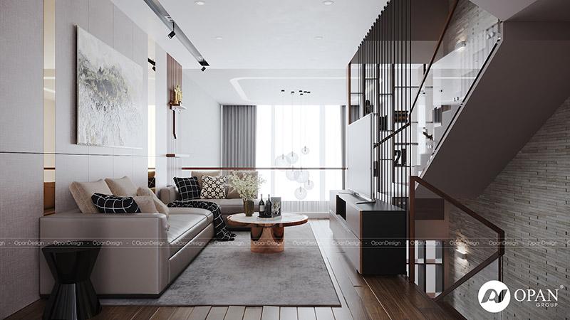 Thiết kế nội thất căn hộ anh Trung Viên phòng khách