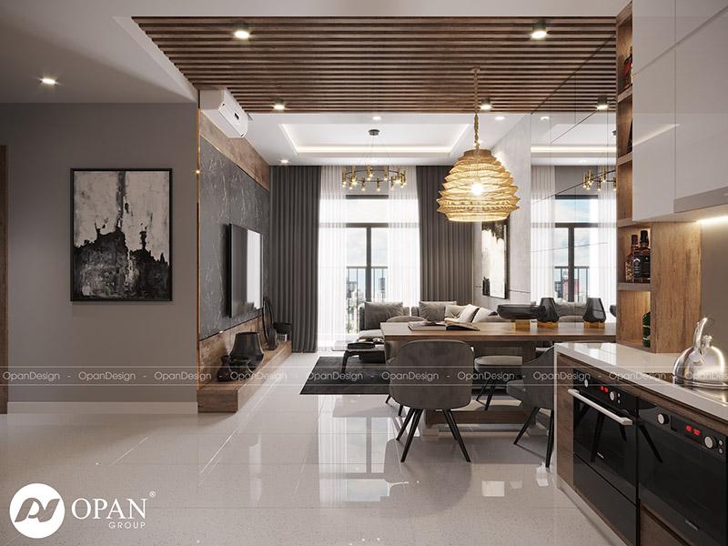 Thiết kế nội thất căn hộ chị Dung hạng mục phòng khách