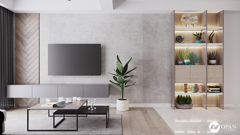 Thiết kế nội thất căn hộ chị Hoa hạng mục phòng khách