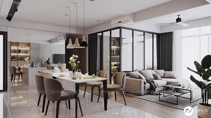 Thiết kế nội thất căn hộ hạng mục phòng khách
