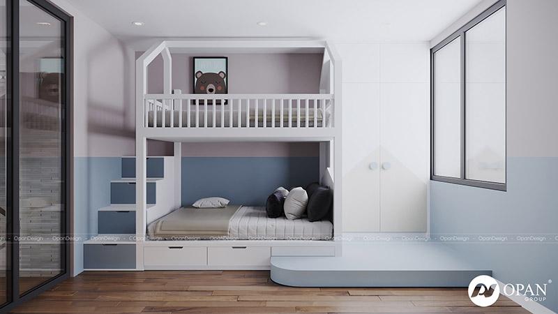 Thiết kế nội thất căn hộ anh Trung Viên phòng ngủ