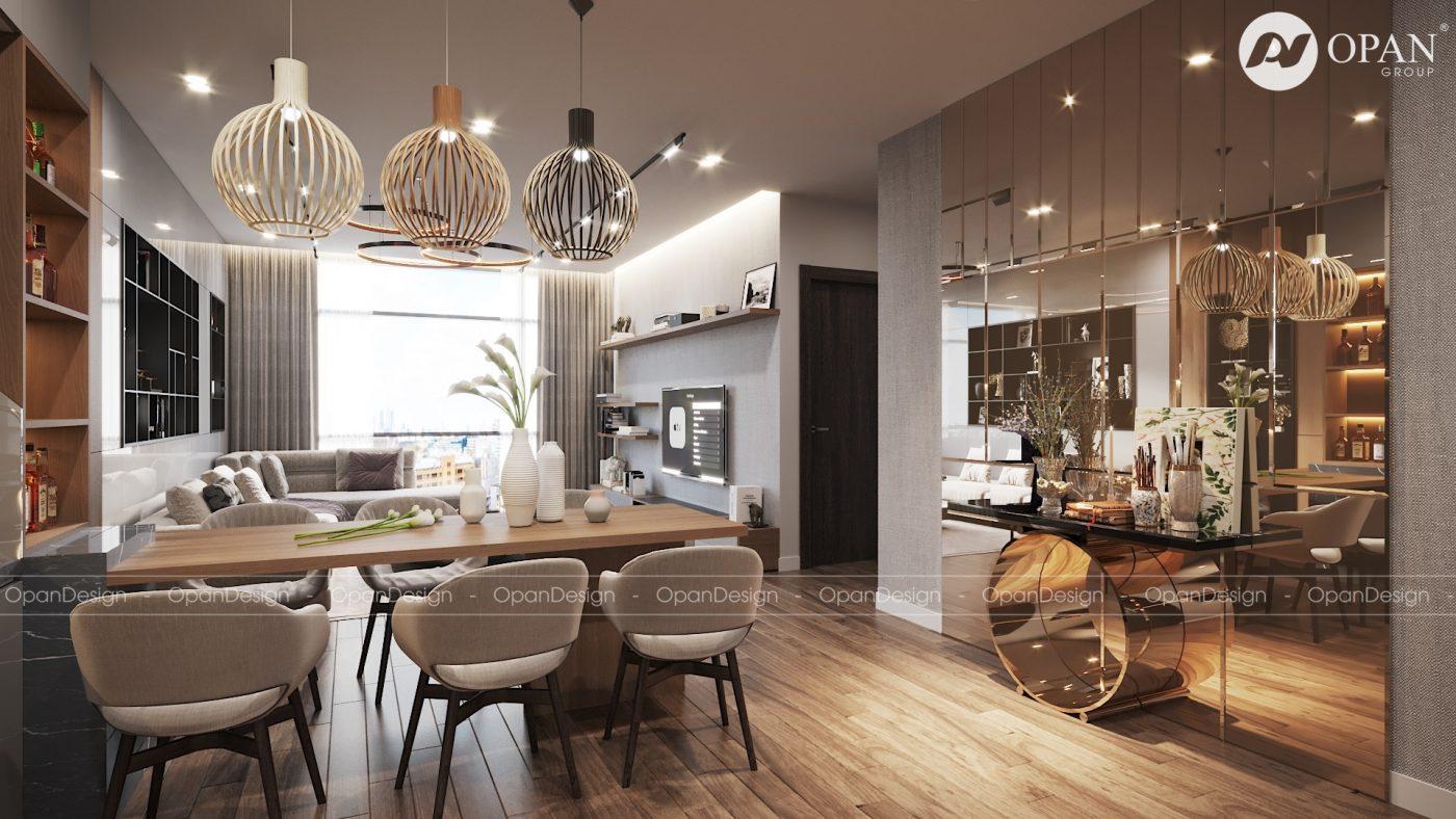 Thiết kế nội thất nhà bếp đẹp với kệ áp tường