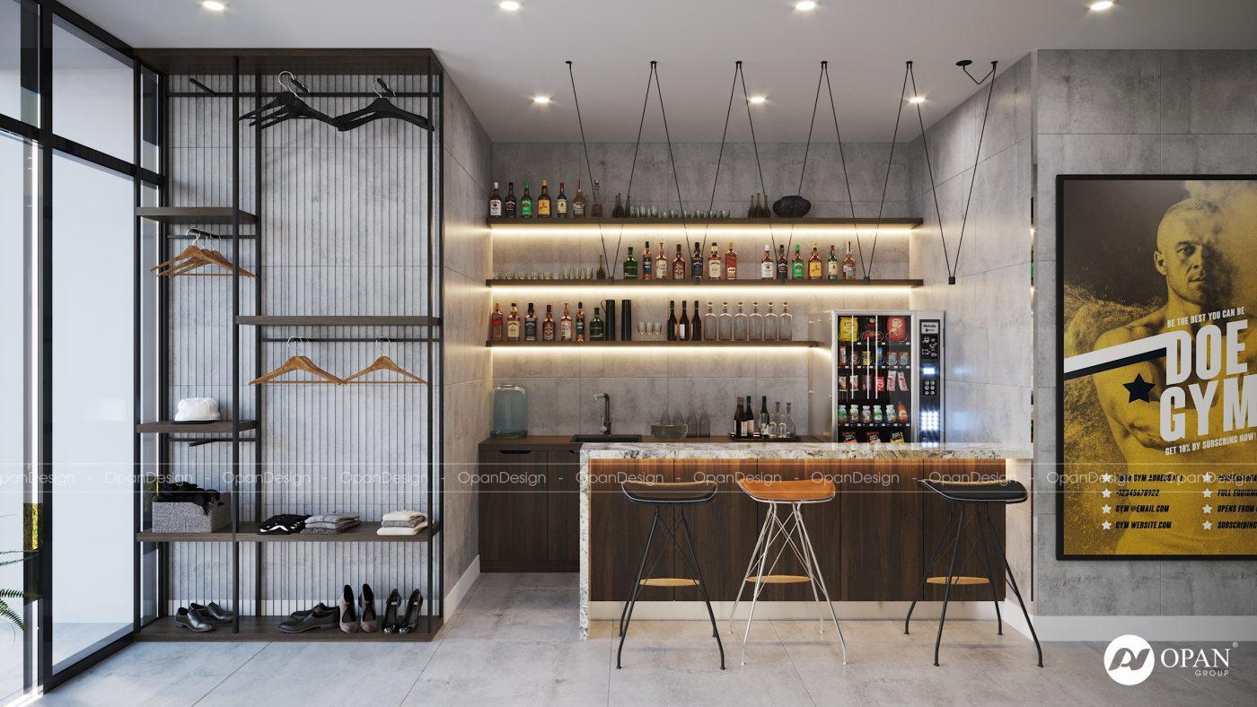 Thiết kế tủ bếp kết hợp với quầy bar mini