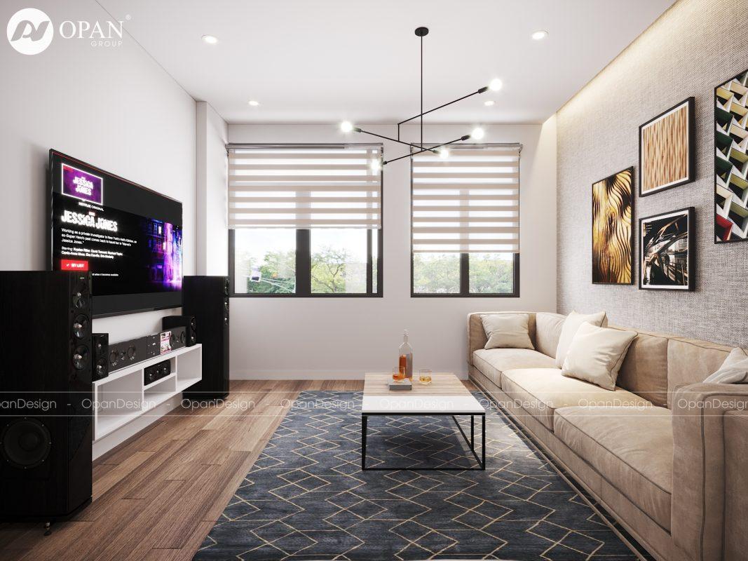 Thiết kế nội thất nhà ống tại phòng khách với gam màu trung tính