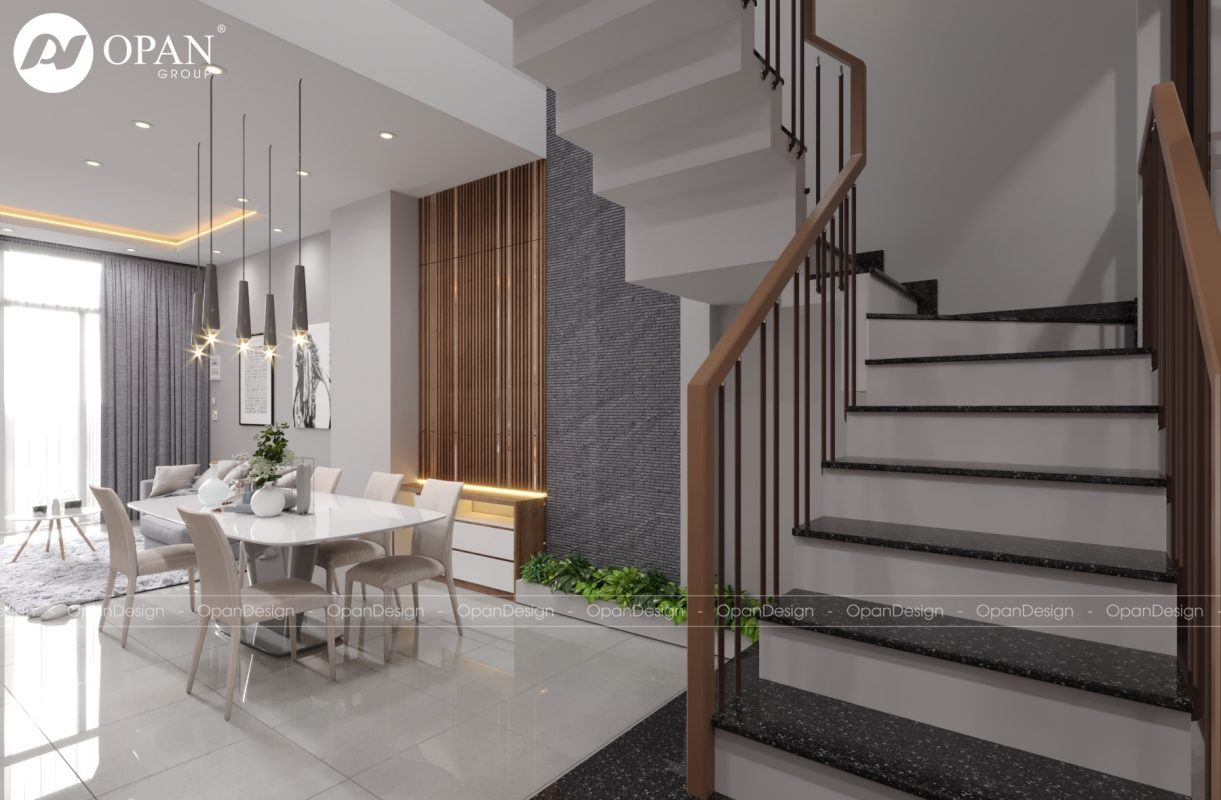 Mẫu thiết kế nội thất nhà ống phòng khách có cầu thang