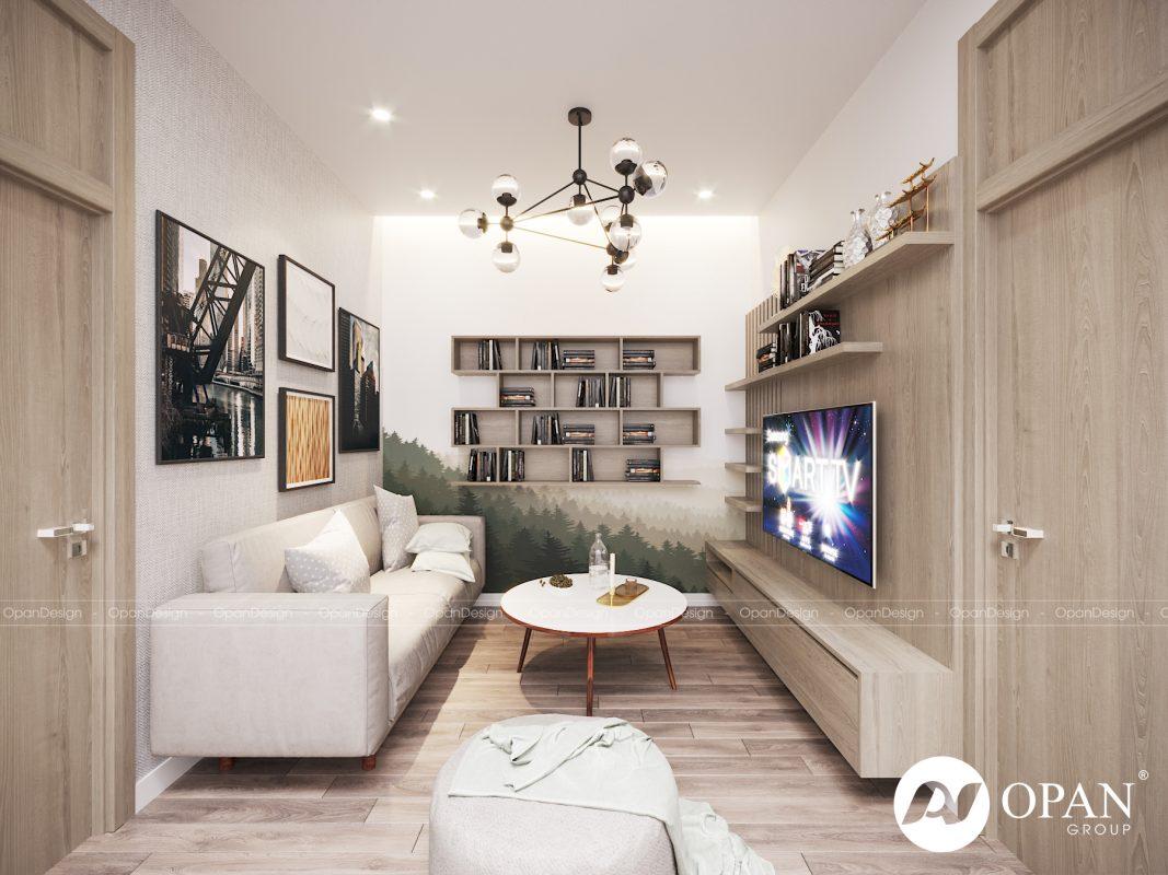 Thiết kế phòng khách nhà ống với chất liệu gỗ