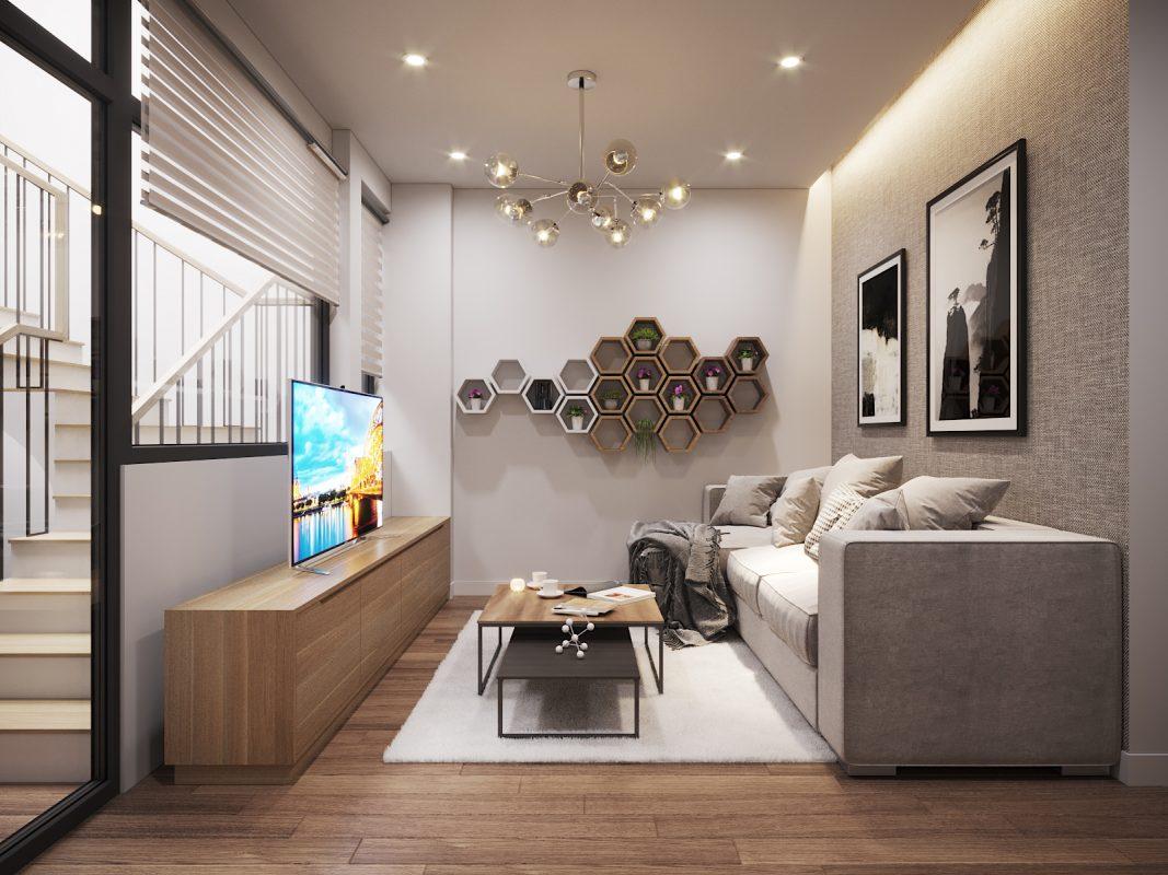 Thiết kế phòng khách nhà ống kết hợp với cầu thang