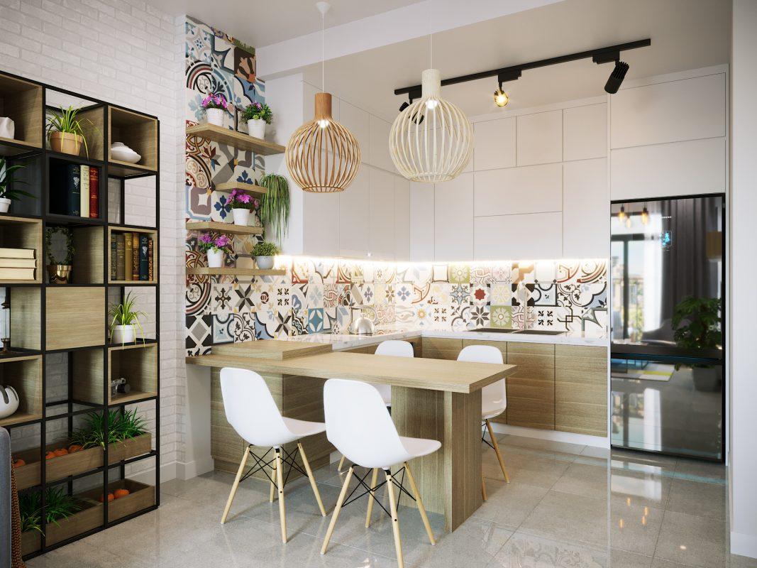 Thiết kế nội thất nhà bếp với tủ áp trần tiết kiệm không gian