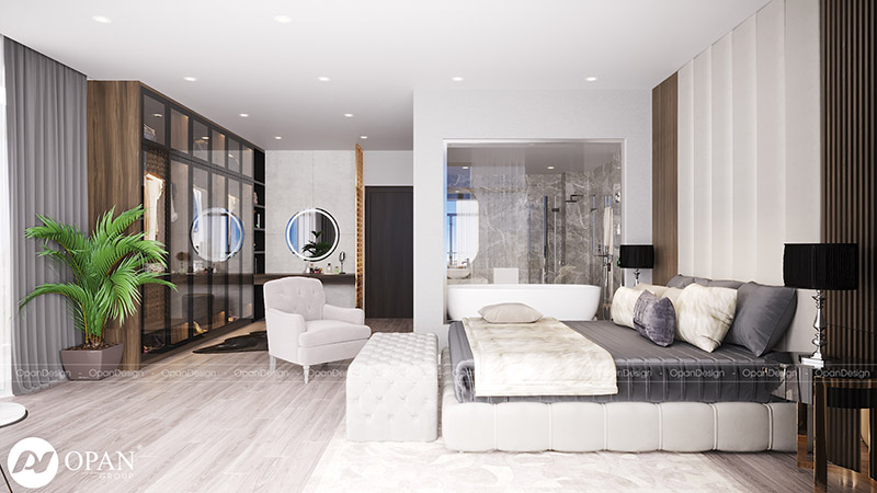 Phòng ngủ 11m2 với gam màu trắng sang trọng
