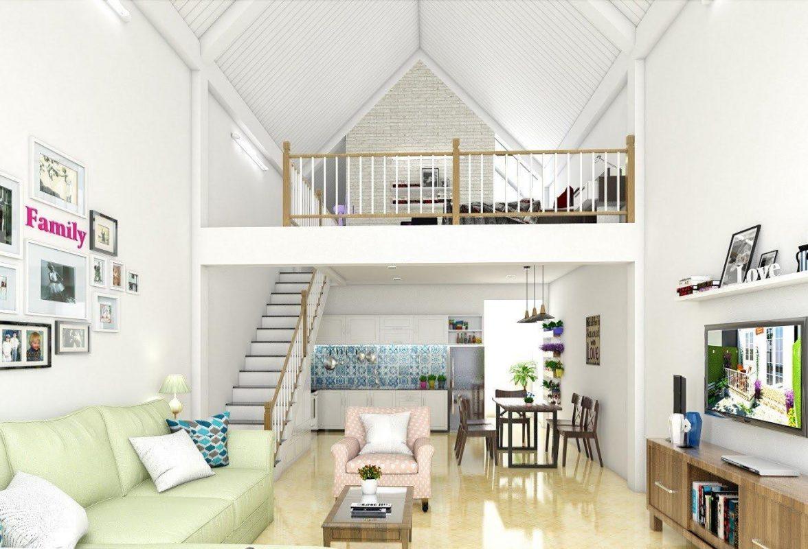 Mẫu thiết kế nội thất nhà ống phòng khách 2 tầng có gác lửng