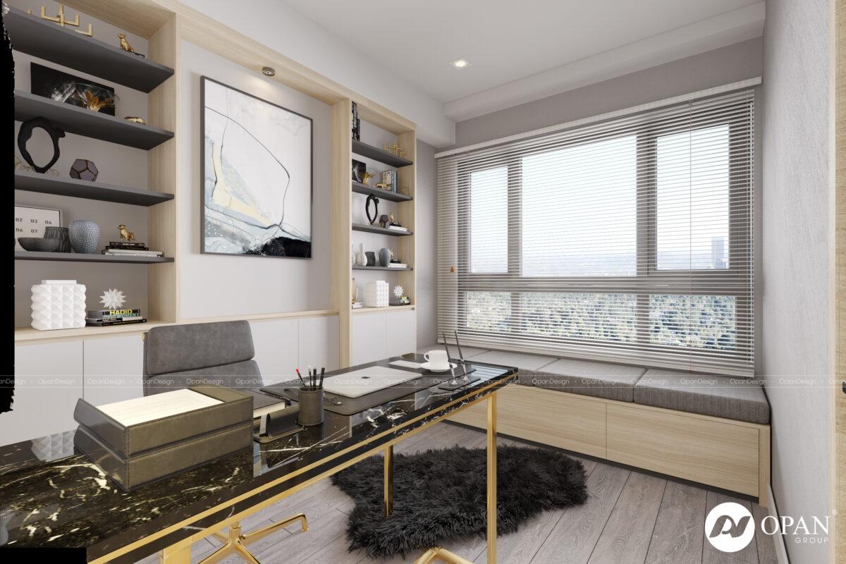 Thiết kế nội thất phòng sách căn hộ anh Nhiệm